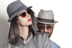 Gangster couple wearing sunglasses stock image