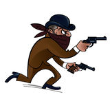Gangster. Dangerous gangster with two guns, bank robber Stock Photos