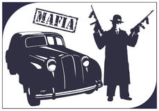 Gangster. Dark silhouette of a gangster with guns near a car. Mafia Stock Photography