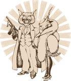 Gangster del gatto con gan e la sua amica Immagini Stock