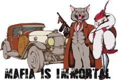 Gangster del gatto con gan e la sua amica stile 1930 Immagini Stock