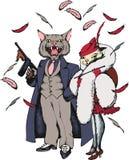 Gangster del gatto con gan e la sua amica stile 1930 Fotografia Stock Libera da Diritti
