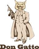 Gangster del gatto con gan stile 1930 Immagini Stock