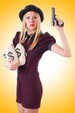 Gangster della donna con la pistola Fotografia Stock Libera da Diritti