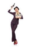 Gangster della donna con la pistola Fotografia Stock