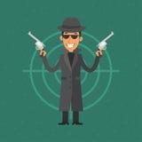 Gangster, der Gewehr und das Lächeln hält Lizenzfreies Stockbild
