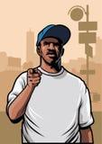 Gangster, der Hemd des Handabnutzungs-freien Raumes zeigt Stockfotografie