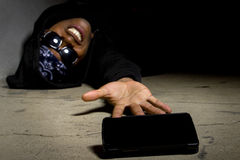 Gangster, der um Hilfe ruft Stockbilder