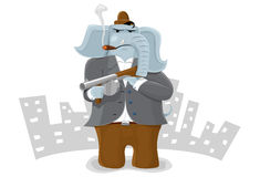 Gangster elephant. Old-fashion gangster elephant with Tommy Gun Stock Photo