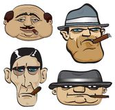 Gangster faces. 4 vector gangsters with cigars Stock Photography