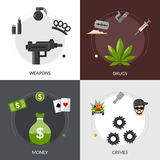 Gangster Flat Icons Composition Royalty Free Stock Photos