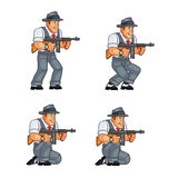 Gangster Game Sprite. Cartoon Illustration of Animation Sequence for Game Sprite Royalty Free Stock Photo