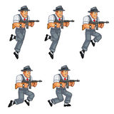 Gangster Game Sprite. Cartoon Illustration of Animation Sequence for Game Sprite Royalty Free Stock Photography