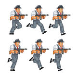 Gangster Game Sprite. Cartoon Illustration of Animation Sequence for Game Sprite Stock Photos