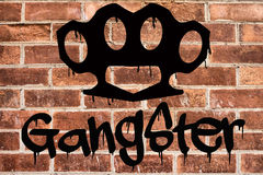 Gangster graffiti on brick wall Royalty Free Stock Photos