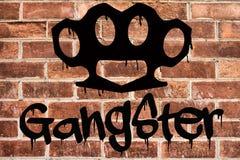 Gangster graffiti on brick wall Royalty Free Stock Photos