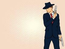 Gangster with Gun. Pop Art Mafia Boss Stock Images