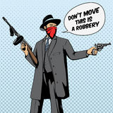 Gangster with gun robbery pop art vector Stock Image