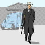Gangster with gun walking from bank pop art vector Royalty Free Stock Images