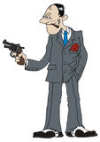 Gangster. Hand drawing of funny mafia man with hand gun Stock Photography