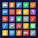 Gangster Icons Flat Design Royalty Free Stock Photography