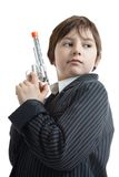 Gangster kid with the fake gun Stock Photo