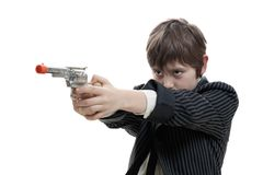 Gangster kid targeting someone Stock Photos