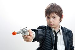 Gangster kid targeting someone Royalty Free Stock Photo