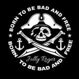 Gangster label badge emblem design elements. Gangsta style quotes. Thug life. Stay true. Street wars. Crossed weapon. Skull in hat. Vintage vector illustration Royalty Free Stock Images