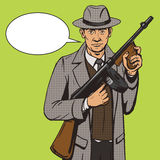 Gangster with machine gun pop art style vector Royalty Free Stock Images