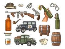 Gangster mafia set. Engraving vintage vector black illustration. Gangster mafia set. Engraving vintage vector color illustration. Isolated on white background stock illustration