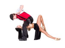 Gangster man dancing with girl isolated on white. Young gangster man dancing with girl.  Isolated on white background in full body Royalty Free Stock Photos