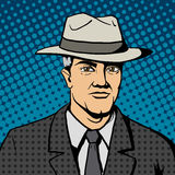 Gangster man with hat  pop art vector Stock Images