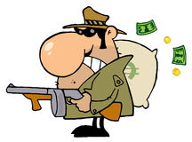Gangster man with his gun and bag of money. Tough Mobster Holding A Machine Gun And Money Sack stock illustration