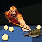 Gangster man playing billiards, tries to target a grenade Stock Image
