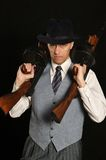 Gangster man in suit with gun Royalty Free Stock Photo