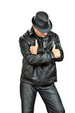 Gangster Man wearing hat Stock Image