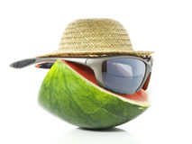 Gangster melon. A melon wearing a hat and sunglasses Stock Images