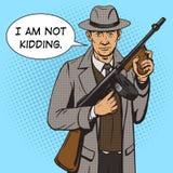 Gangster met de stijlvector van het machinegeweerpop-art Stock Afbeeldingen