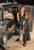 Gangster Pair with Shotgun in Car Stock Image