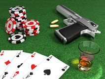 Gangster poker table. Very high resolution 3d rendering of a gangster poker table Stock Image