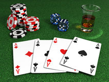 Gangster poker table. Very high resolution 3d rendering of a gangster poker table Stock Photo
