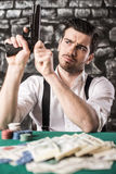 Gangster. Poker. Royalty Free Stock Photos