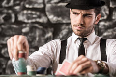 Gangster. Poker. Royalty Free Stock Images