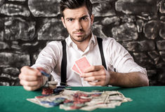 Gangster. Poker. Royalty Free Stock Photography