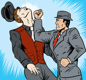 Gangster Punch. Cartoon of a gangster or detective punching a guy Royalty Free Stock Photos