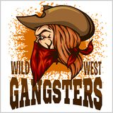 Gangster in retro scratch background Royalty Free Stock Photo