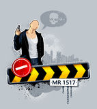 Gangster on road. Vector illustration of gangster on road. Abstract idea Royalty Free Stock Image