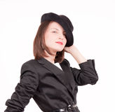 Gangster's style. Model plays with gangster's style hat Royalty Free Stock Photo