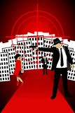 Gangster Seen. A  illustration of 20s gangsters, in front of a city seen Royalty Free Stock Photo